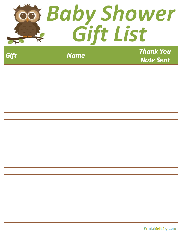 Printable baby shower gift list tracker sheet for Birthday gift list template