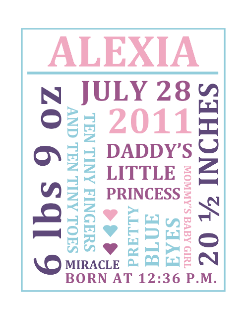 9ea6ff281f1f0 Free Word Collage Baby Birth Announcement