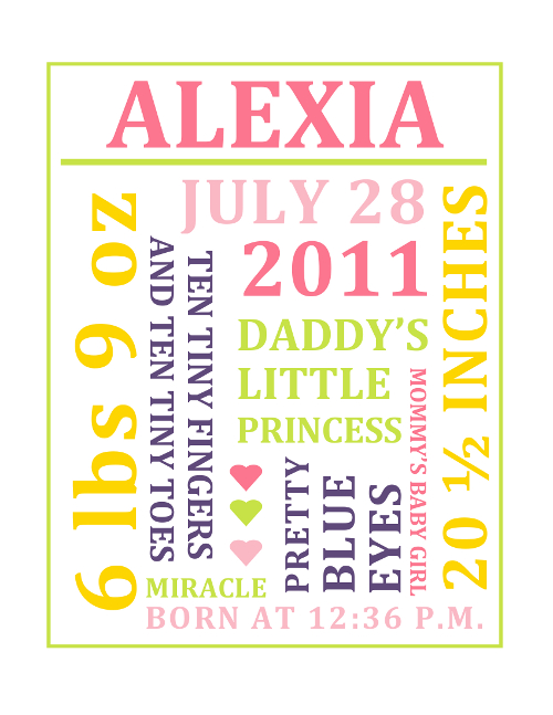 personalised word art template - customizable baby girl subway art