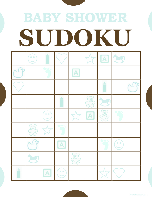 Boys Sudoku Baby Shower Game